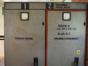 Zdjęcie zespołu rozdzielni R-II przy pulpicie sterowniczo-pomiarowym