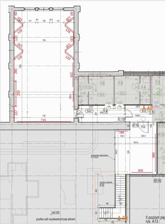 Rysunek sali na I piętrze