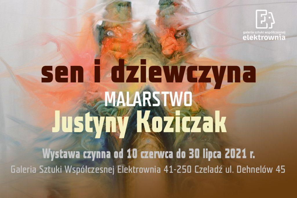 Grafika baneru promującego wystawę malarstwa Justyny Koziczak